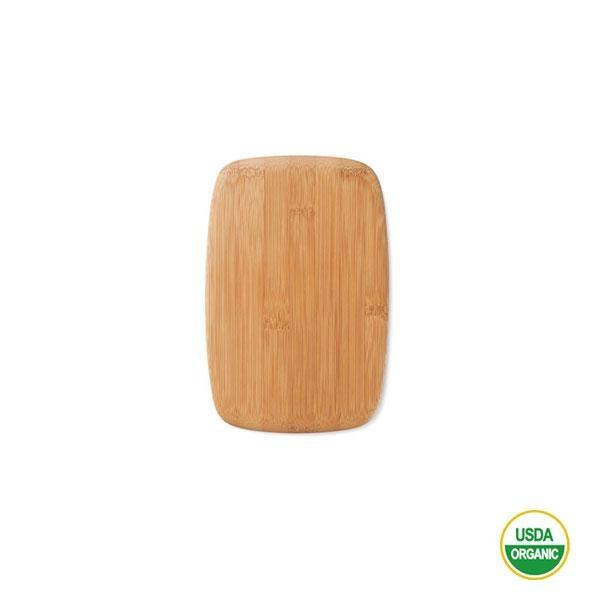 La tabla para cortar de bambú pequeña es sostenible, ligera y bonita