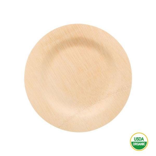 Los platos de bambú redondos medianos 23 cm
