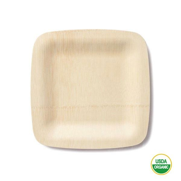 Los platos bambú cuadrados medianos 23 cm son platos naturales de bambú orgánico