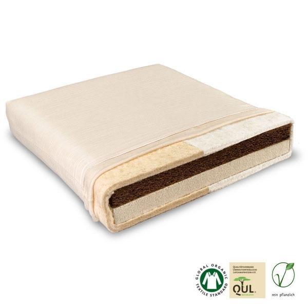 El colchón natural infantil Vario Baumberger tiene por un lado 4 cm de fibra de coco y, por el otro, 4 cm de látex natural