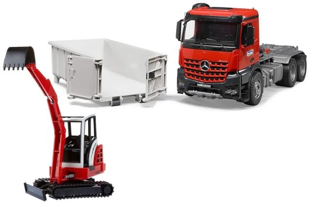 BRUDER 1:16 camion de juguete mercedes benz MB AROCS LKW CON CONTAINER Y SCHAEFF HR 16 MINIEXCAVADORA - Ítem2