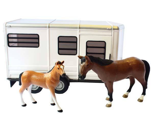 Remolque de juguete de caballos con dos caballos