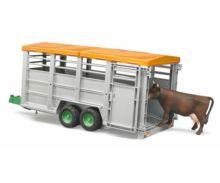Remolque de juguete para transporte de ganado con 1 vaca Bruder 02227 - Ítem1