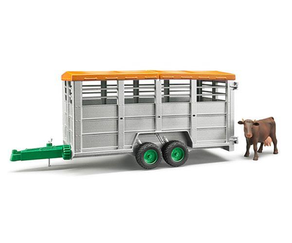 Remolque de juguete para transporte de ganado con 1 vaca Bruder 02227