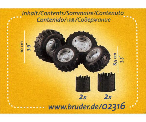 Juego de ruedas gemelas para tractores de juguete Bruder 02316 - Ítem3
