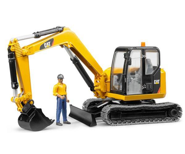 Miniexcavadora de juguete CATERPILLAR con trabajador Bruder 02466