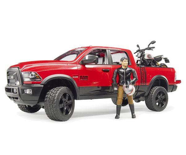 BRUDER 1:16 Todoterreno RAM 2500 con moto DUCATI y conductor
