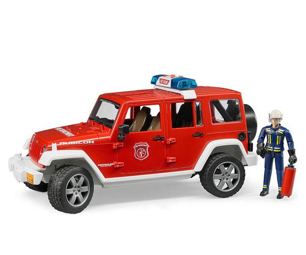 Todoterreno de juguete JEEP WRANGLER Unlimited Rubicon con bombero Bruder 02528