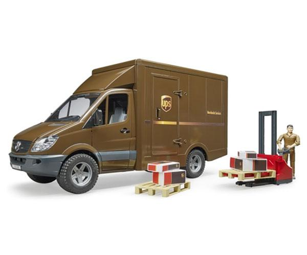 BRUDER 1:16 Furgón de juguete MERCEDES BENZ Sprinter UPS con conductor y accesorios - Ítem3