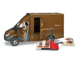 BRUDER 1:16 Furgón de juguete MERCEDES BENZ Sprinter UPS con conductor y accesorios
