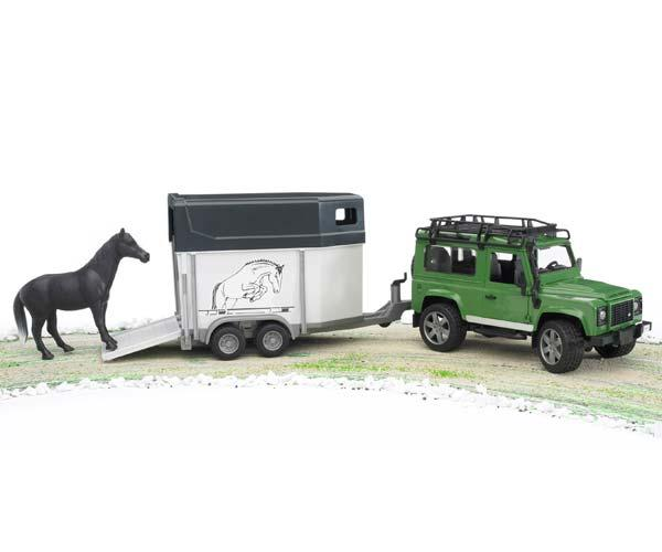 Todoterreno de juguete LAND ROVER Defender con remolque de caballos - Ítem2