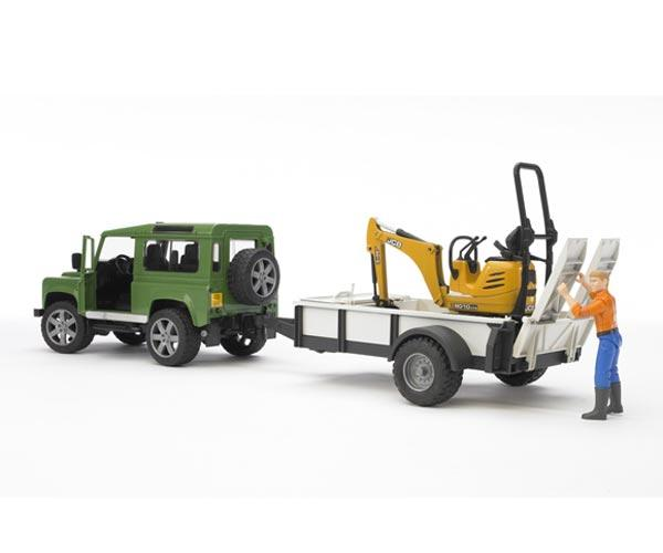 Todoterreno de juguete LAND ROVER Defender con remolque, miniexcavadora JCB 8010 CTS y conductor - Ítem1
