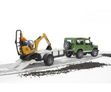 Todoterreno de juguete LAND ROVER Defender con remolque, miniexcavadora JCB 8010 CTS y conductor - Ítem2