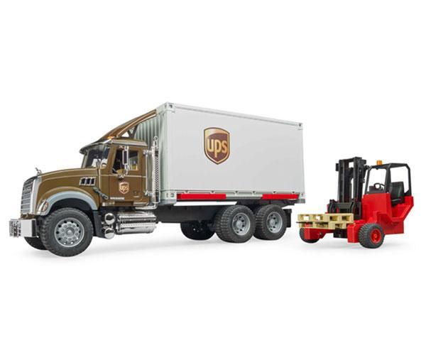 BRUDER 1:16 Camión MACK Granite UPS con carretilla elevadora - Ítem1