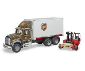 BRUDER 1:16 Camión MACK Granite UPS con carretilla elevadora