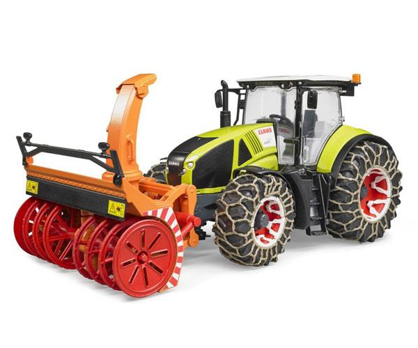 Tractor de juguete CLAAS Axion 950 con cadenas de nieves y sopladora Bruder 03017