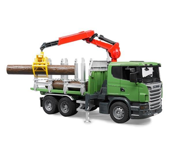 BRUDER 1:16 Camion forestal de juguete SCANIA Serie R con tres troncos - Ítem1