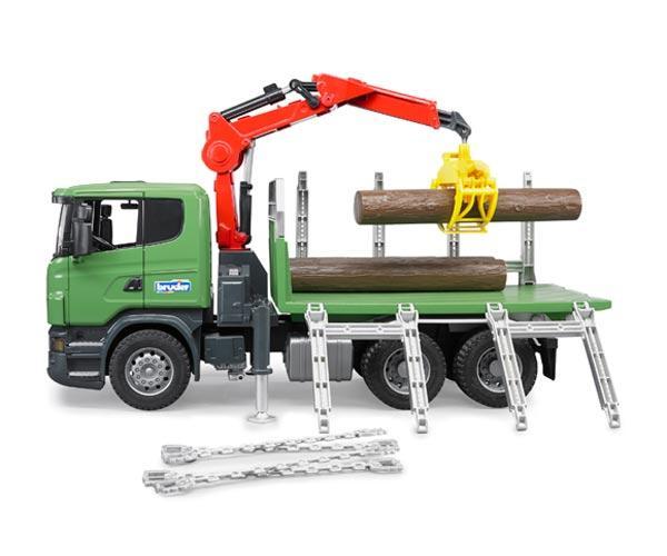 BRUDER 1:16 Camion forestal de juguete SCANIA Serie R con tres troncos - Ítem2