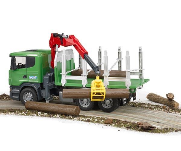 BRUDER 1:16 Camion forestal de juguete SCANIA Serie R con tres troncos - Ítem5