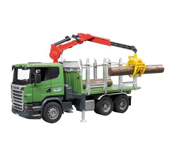 BRUDER 1:16 Camion forestal de juguete SCANIA Serie R con tres troncos