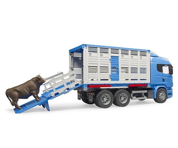BRUDER 1:16 Camión de juguete SCANIA serie-R transporte de ganado