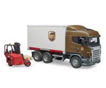 BRUDER 1:16 Camión de juguete SCANIA serie-R UPS c/carretilla elevadora - Ítem1