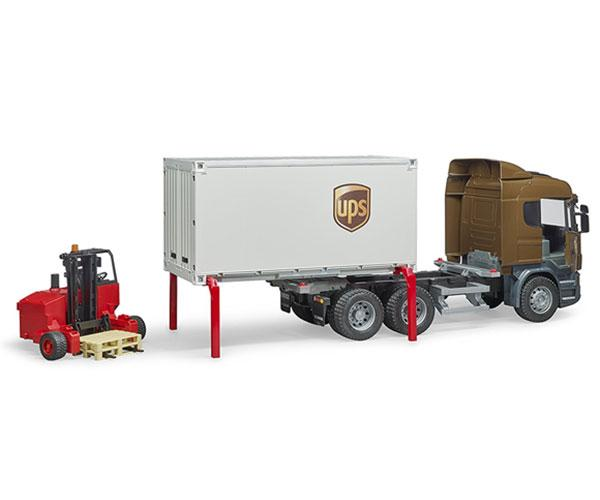 BRUDER 1:16 Camión de juguete SCANIA serie-R UPS c/carretilla elevadora - Ítem2