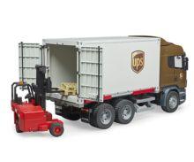 BRUDER 1:16 Camión de juguete SCANIA serie-R UPS c/carretilla elevadora - Ítem3