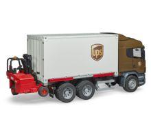 BRUDER 1:16 Camión de juguete SCANIA serie-R UPS c/carretilla elevadora - Ítem4
