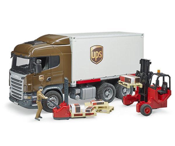 BRUDER 1:16 Camión de juguete SCANIA serie-R UPS c/carretilla elevadora - Ítem5