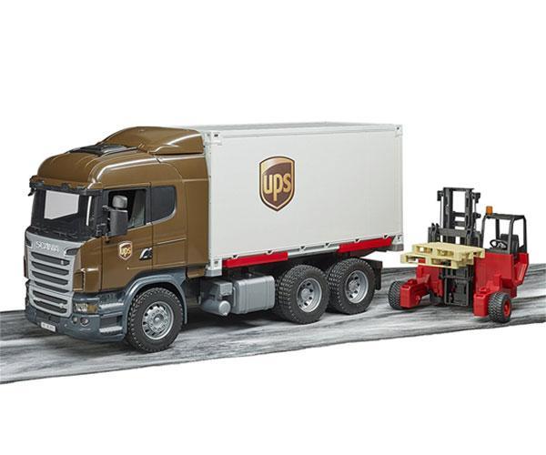BRUDER 1:16 Camión de juguete SCANIA serie-R UPS c/carretilla elevadora - Ítem6