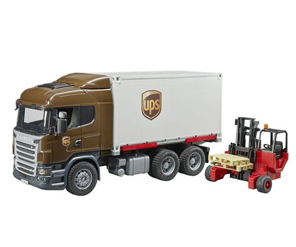 BRUDER 1:16 Camión de juguete SCANIA serie-R UPS c/carretilla elevadora
