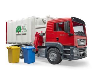 BRUDER 1:16 Camión basura de juguete MAN con carga lateral
