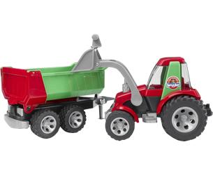 Tractor de juguete con pala y remolque