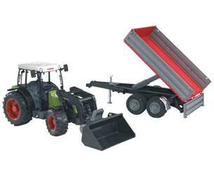 Tractor de juguete CLAAS Nectis 267 F con pala y remolque