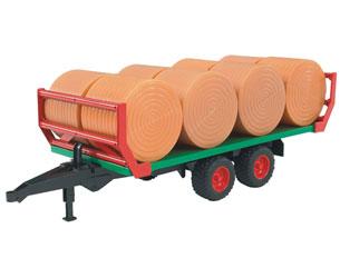 Remolque plataforma de juguete transporte pacas con 8 pacas