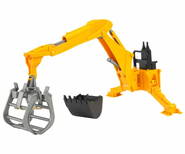 Brazo hidráulico trasero de juguete con pinza y cazo Bruder 02338