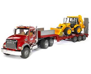 Camión de juguete MACK Granite con góndola y retrocargadora JCB