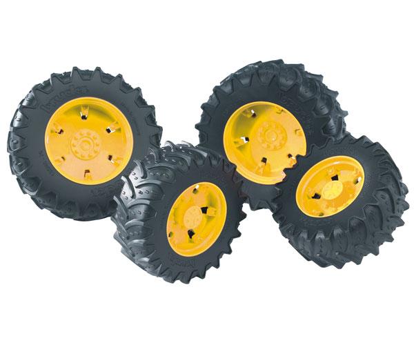 Juego ruedas gemelas llantas amarillas tractores de juguete serie 03000 Bruder 03314