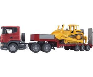 juguete scania con gondola y bulldozer caterpillar