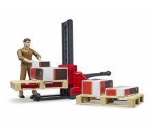 BRUDER 1:16 Pack logístico (transpaleta, palets y operario) - Ítem2