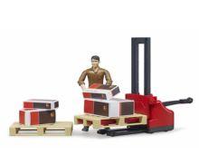 BRUDER 1:16 Pack logístico (transpaleta, palets y operario) - Ítem4