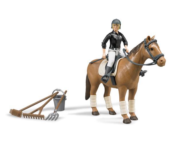 Pack caballo+jinete+accesorios+obstáculos y setos Bruder - Ítem1