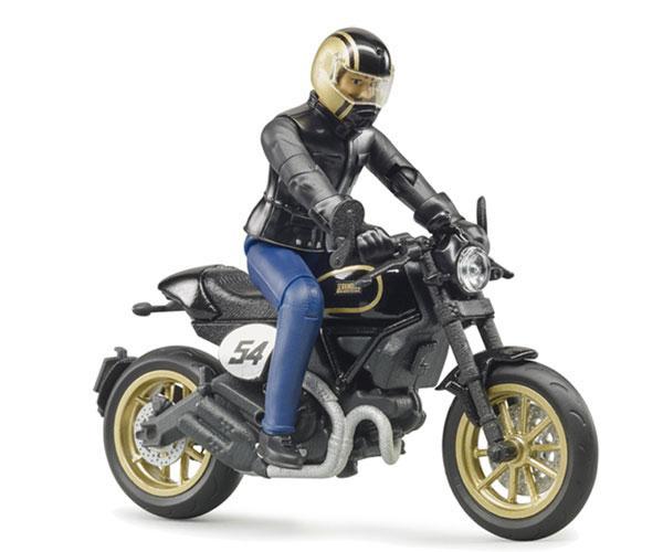 BRUDER 1:16 Moto DUCATI Scrambler Cafe Racer con piloto