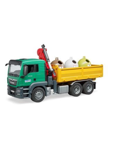 BRUDER 1:16 camion de juguete MAN TGS LKW RECOGIDA SELECTIVA CON 3 CONTAINERS