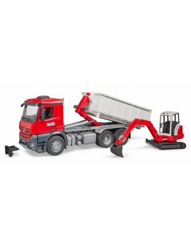 BRUDER 1:16 camion de juguete mercedes benz MB AROCS LKW CON CONTAINER Y SCHAEFF HR 16 MINIEXCAVADORA