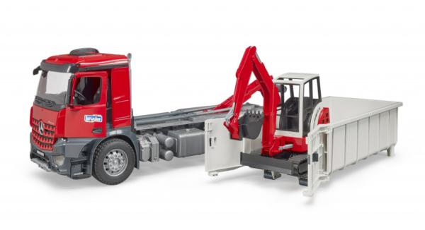 BRUDER 1:16 camion de juguete mercedes benz MB AROCS LKW CON CONTAINER Y SCHAEFF HR 16 MINIEXCAVADORA - Ítem1