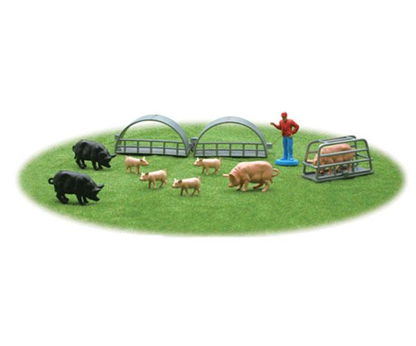 Pack granjero, berracos, cerda, lechones, cobertizos New Ray 05515