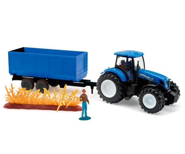 Pack miniatura tractor NEW HOLLAND con remolque y granjero