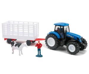 Pack miniatura tractor NEW HOLLAND T7000 con remolque transporte ganado, vaca y granjero New Ray 05675